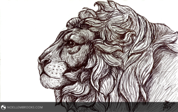 """Lion's Pride July 20, 2015 Ink on Watercolor Paper 7""""x10"""" From Life"""