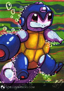 "#007 Squirtle --- February 19, 2016 Ink on Bristol 2.5""x3.5"" 3 Hours"