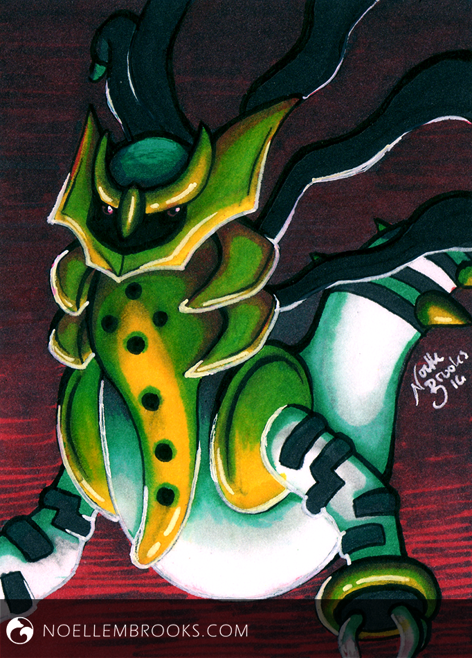 "#486 Regigigas #487 Giratina --- May 24, 2016 Ink on Bristol 2.5""x3.5"" 2 Hours"