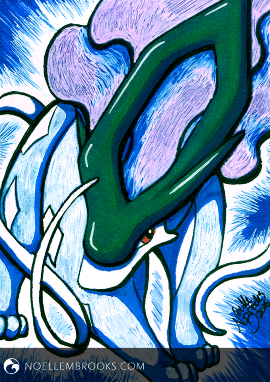 "#245 Suicune --- February 9, 2016 Ink on Bristol 2.5""x3.5"" 1.5 Hours"